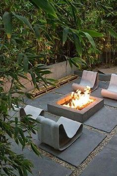 Firepit and funky chairs.