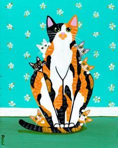 Calico Mom and Kittens Original Cat Folk Art Painting Ryan Conners KilkenneycatArt in northwest Pennsylvania