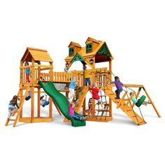 Every day will be exciting with the Gorilla Playsets Malibu Pioneer Peak Swing Set w/ Amber Posts in your backyard. Kids will love twisting on the 360° Turbo Tire Swing™ w/ Swivel and will never tire of running up the ramp and over their Clatter Bridge and Tower. This premium cedar wood playset is pre-cut, pre-sanded, pre-stained and ready to assemble in your backyard. The play deck is protected with a tongue and groove wood roof and includes two solar wall lights...
