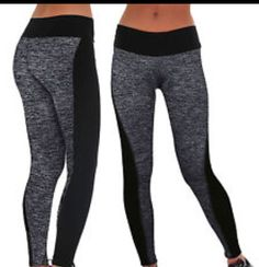 Nylon blend stretch yoga pants, two tone colored black and gray. great for all activities from the gym to the poolside.