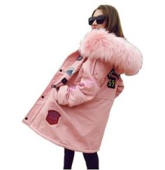 Warm Korean Womens Military Fleece Coats Loose Casual Fur Hooded Collar Jackets
