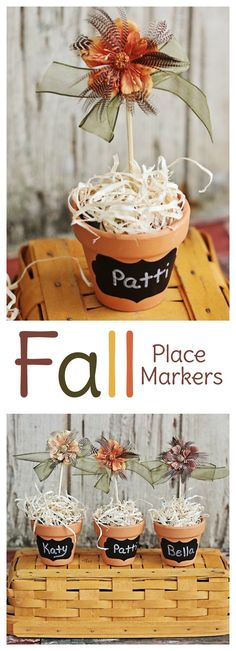 Make these Thanksgiving place card holders and use them to mark seating at the table. They double as cute fall decor until turkey day arrives! Thanksgiving Place Cards, Thanksgiving Crafts, Fall Crafts, Crafts For Kids, Party Food On A Budget, Diy Home Decor On A Budget, Place Card Holders Diy, Diy Birthday Decorations, Fall Decorations