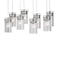Shop allen + roth Vallymede 7.7-in H Brushed Nickel Multi-Pendant Light with Clear Glass Shade at Lowes.com