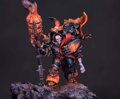 Second inspired character of five. Pictures always reveal the weak and missed… Warhammer 40000, Warhammer Paint, Warhammer Models, Chaos Daemons, Chaos Lord, Necron, Tyranids, Space Wolves, Warhammer 40k Miniatures