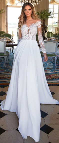 Marvelous Tulle & Chiffon Sheer Jewel Neckline See-through Bodice A-Line Wedding Dress With Lace Appliques