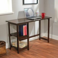 TMS Emory Desk, Espresso by TMS. $104.99. Espresso finish. It has a spacious desk top that allows you to work comfortably. Two shelves for storage. This Emory writing desk creates a modern look for your home office or kids room. It has a spacious desk top that allows you to work comfortably. It comes with two shelves that you can store books, files or even stationary. This desk is made of engineered wood and solid wood. The dimensions are 18.7-inch deep by 47.2-inch ...