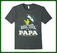 Mens Reel Cool Papa Awesome Funny Fishing Father's Day Gift Shirt Large Dark Heather - Holiday and seasonal shirts (*Amazon Partner-Link)