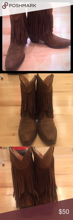 Ariat Fringed cowboy boots Brown leather with fringe. Only worn once. Great condition. Runs a little big Ariat Shoes