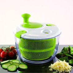 Don& let the water left over from washing your veggies ruin your wonderful salad. This spinner will dry everything off in record time, getting your salad dressed and to the table with no fuss. All parts separate for easy cleaning. Olive Oil Dispenser, Salad Spinner, Kitchen Gadgets, Kitchen Stuff, Fruits And Vegetables, Food Storage, Mixer, Cravings, Cleaning