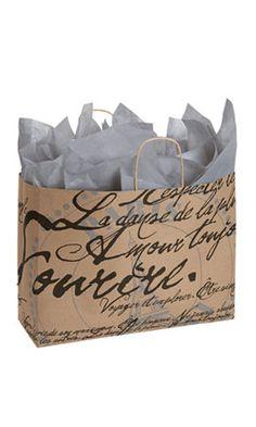 Paris Script Paper Shopping Bag