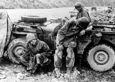 Pictured are Soldiers of the300th Armored Field Artillery Battalion resting after combat in Korea, during the Korean War. The 300th AFA was a Wyoming Army National Guard unit deployed to the Korean War in February 1951, entered combat in May 1951, and released from active federal service in September 1954. The unit was awarded some of the nation's highest awards, to now include the Navy and Marine Corps Presidential Unit Citation, as of Sept. 13, 2010.
