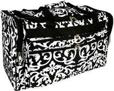 World Traveler Black Floral Damask Duffle Bag 13-inch