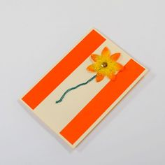 Flower Greeting Card -Handmade greeting card with a yellow flower. Made of orange and cream paper. Love Cards Handmade, Greeting Cards Handmade, Yellow Flowers, Cream, Orange, Paper, Projects, Gifts, Creme Caramel