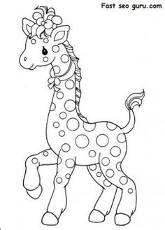free printable africa animal giraffe pair coloring pages for kids embroidery patterns colouring free