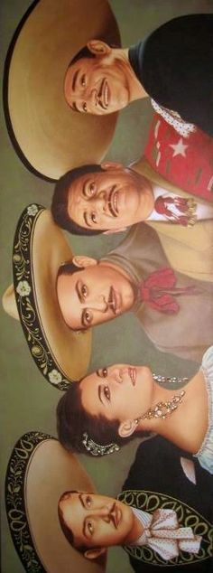 "This Time All of Them ""Mexico's Greatest Singers"" Jorge Negrete Lola Beltran, Pedro Infante Jose Alfredo Jimenez & Javier Solis. This Time All of Them Mexico's Greatest Singers Jorge Negrete Lola Beltran, Pedro Infante Jose Alfredo Jimenez & Javier Solis. Mexican Artwork, Mexican Paintings, Mexican Folk Art, Mexican Style, Mexican American, Mexican Heritage, Mexico Culture, Mexico Art, Don Juan"