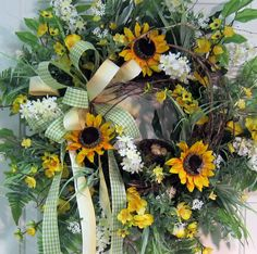 sunflower and gingham wreath | Large, Full Door Wreath With Bold Sunflowers, White blossoms, and ...