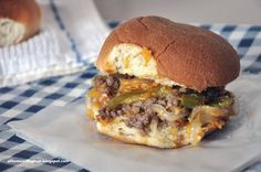 Cheesy Beef Sandwich with Peppers, Onions and Loads of Garlic