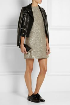 SAINT LAURENT Sequin-embellished metallic tweed mini dress; Universite patent-leather brogues, Leather biker jacket
