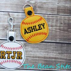 Embroidery Machine Download Design File - Baseball Softball Bag Tag Key Fob