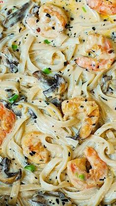 Creamy Shrimp and Mushroom Pasta in a Delicious Homemade Alfredo Sauce ~ All the flavors you want: garlic, basil, crushed red pepper flakes, paprika, Parmesan and Mozzarella cheese.