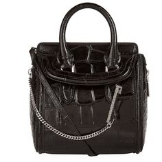 Alexander McQueen Mini Heroine Croc-Embossed Bag (5,610 SAR) ❤ liked on Polyvore featuring bags, handbags, shoulder bags, croc handbags, croc shoulder bag, alexander mcqueen purse, croc embossed handbags and chain handbags