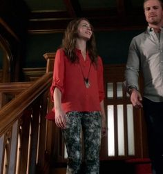 """Thea Queen is spotted wearing the Alice + Olivia Drew Flair Back Blouse and Paige Denim Verdugo Leggings on Season 1, Episode 6 """"Legacies"""" on """"Arrow"""""""