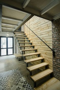 Stairs - A's House - private home - located in Hoàng Văn Thái, Thanh Xuân, Hà Nội, Vietnam. designed by Global Architects & Associates in Interior Staircase, Modern Staircase, Staircase Design, Interior Architecture, Save For House, Steel Stairs, Small Modern Home, Narrow House, Wooden Stairs