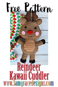 Reindeer Kawaii Cuddler™ - Free Crochet Pattern : Our free reindeer amigurumi crochet pattern is just in time for Christmas! He can be made with a red nose to represent Rudolph or a brown nose to participate in reindeer games. Crochet Kawaii, Crochet Diy, Crochet Amigurumi, Crochet Pillow, Crochet Gifts, Crochet Dolls, Christmas Crochet Patterns, Holiday Crochet, Crochet Toys Patterns