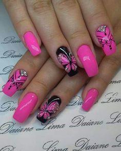 30 natural elegant summer nail designs to prepare for parties and holidays 2019 … - Summer Acrylic Nails Fingernail Designs, Colorful Nail Designs, Beautiful Nail Designs, Nail Art Designs, Elegant Designs, Pink Nail Art, Pink Nails, Fancy Nails, Butterfly Nail Art