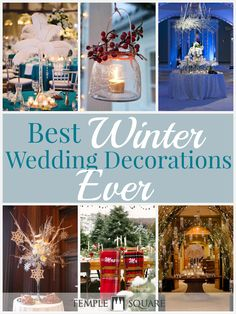 These winter wedding decorations are to die for!! Soooo cute! Check out the blog for the best ideas, which include: marshmallows | snowflakes | blanket chair covers | berries | pine cones | candles | feathers | baby's breath flowers | Christmas lights | fairy lights | sleds | stocking silverware pockets | sweater vases | crystals | wedding planning | wedding ideas | winter decor | www.templesquare.com/weddings/blog