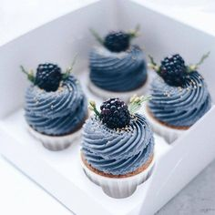 Image may contain: dessert and food - Cupcake Pink Ideen Cupcake Recipes, Cupcake Cakes, Dessert Recipes, Cute Cakes, Pretty Cakes, Cute Desserts, Delicious Desserts, Blackberry Cupcakes, Cupcakes Decorados