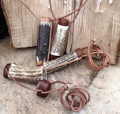 Stag Horn Needle Case Pendant