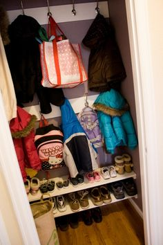Is your coat closet small and cluttered? Turn your messy coat closet into an…