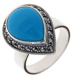 925 Sterling Silver Teardrop TURQUOISE and MARCASITE Ring Size 9.5 »R322