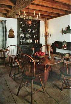 primitive colonial diningroom pewter hutch & small round table for the kitchen