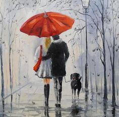 AZQSD Diamond Embroidery Needlework Set Red Umbrella Home Decor Painting DIY Full Square Diamond Painting Cross Stitch Umbrella Painting, Rain Painting, Umbrella Art, Wall Canvas, Canvas Art, Rain Art, Walking In The Rain, Australian Art, Cross Paintings