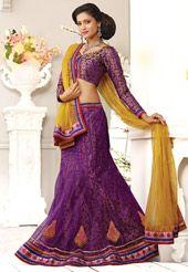 Purple Net Lehenga Choli with Dupatta