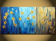SALE Flower Large Painting canvas Triptych paintings 48 Gold Original Abstract heavy textured Contemporary Fine Art Gold Turqouise Dancing
