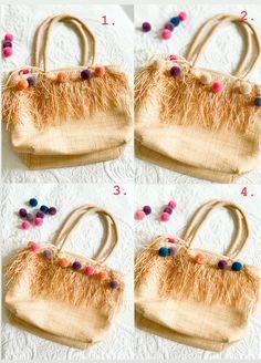 DIY - Hippie-Tasche: Upcyling mit Pompoms | The Nina Edition Bunt, Straw Bag, Berlin, Fashion, Dime Bags, Moda, La Mode, Fasion, Fashion Models