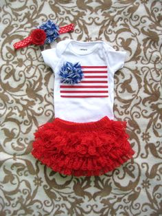 July 4th Baby Girl Bodysuitdiaper cover & by LovelyLittleBowShop
