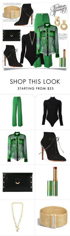 """Fashion Hungry: Green, Black and Gold"" by helenaymangual ❤ liked on Polyvore featuring Dolce&Gabbana, Cushnie Et Ochs, Balmain, Santoni, Jimmy Choo, Tata Harper, Juicy Couture and John Hardy"