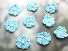 10pc-hot-blue-crochet-cotton-flower-applique-patch-sewing-doll-dress-shirt-D342