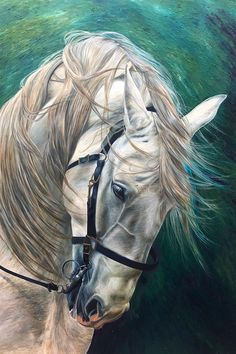 Gorgeous horse painting by artist Caroline Towning | horse art | horse decor | horse wall art | horse artwork | horse paintings on canvas | equine art | equestrian art | horse head painting | equestrian chic