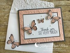 Party Cards for the Tadah Stamping Hoods.Country Floral Embossing folder paired with Butterfly Gala Bundle! Pink Cards, Baby Cards, Embossed Cards, Stamping Up Cards, Greeting Cards Handmade, Butterfly Cards Handmade, Card Sketches, Cool Cards, Flower Cards