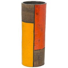 "Tall Aldo Londi ""Mondrian"" Ceramic Vase for Bittosi | Douglas Rosin"