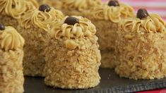 These mini coffee and walnut cakes are Mary's interpretation of the showstopper challenge in the Cake episode of Season 1 of The Great British Baking Show.