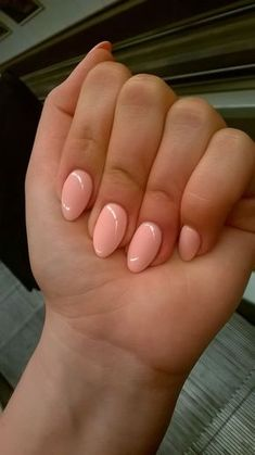 Short almond peach nails