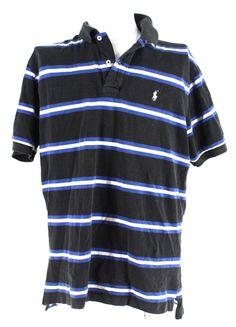 Mens RALPH  LAUREN Black & Blue 100% Cotton Polo Casual Shirt Size L