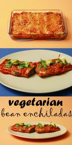 Simple vegetarian bean enchiladas recipe.