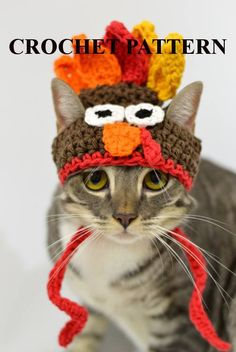 CROCHET PATTERN - Thanksgiving Turkey Hat for Pets This listing is for the Thanksgiving Turkey Hat for Pets PATTERN ONLY. NOTHING PHYSICAL WILL BE SHIPPED TO YOU. If you wish to purchase the finished product please go to my Photo Props section: